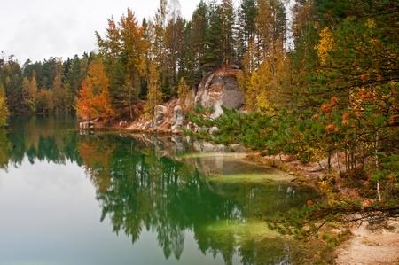 sand quarry: Beautiful autumn lake in Adrspach, Czech Republic.
