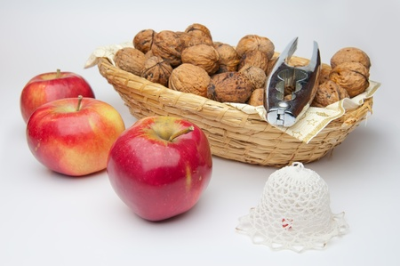 Picture of apples and walnuts, horizontal shot. Stock Photo - 11868800