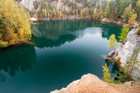 Beautiful autumn lake in Adrspach, Czech Republic.