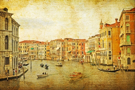 waterbus: VENICE, ITALY - SEPTEMBER 27: View of a Venetian Grand Channel with its typical Venetian architecture and gondolas on September 27, 2009 in Venice. The photo was made as a retro styziled picture.
