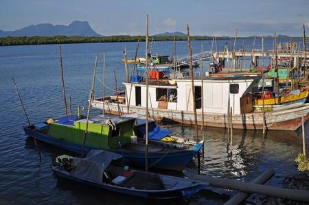 Marina with local boats on Bali island, Indonesia.