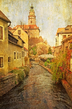 unesco in czech republic: View at Cesky Krumlov, city protected by UNESCO. Vintage style photo.