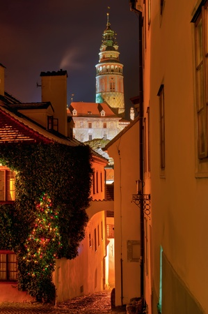 Street of Cesky Krumlov, city protected by UNESCO.