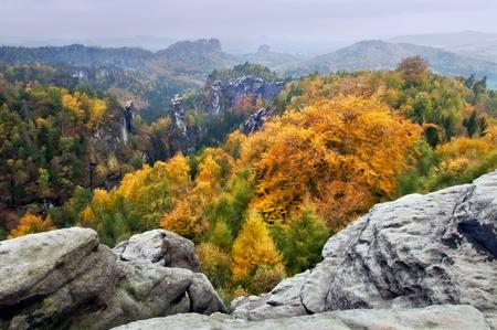 View of a beautiful autumn landscape in Czech-Saxony Switzerland. photo