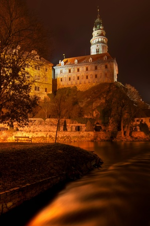 View at Cesky Krumlov, city protected by UNESCO. Vintage style photo.