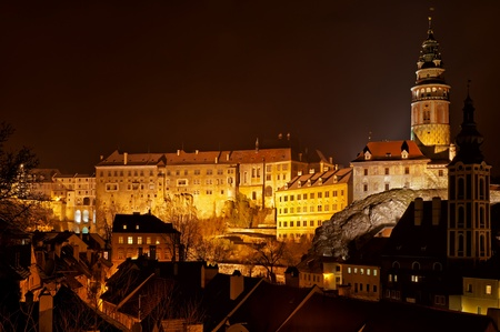 Night view of Cesky Krumlov, city protected by UNESCO.