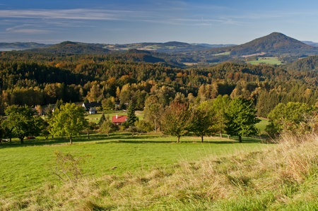 Autumn view of a beautiful countryside of Czech-Saxony Switzerland. photo