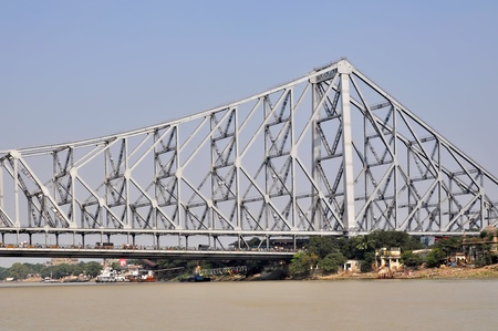 polluted river: View of a Howrah Bidge in Kolkata India. Stock Photo
