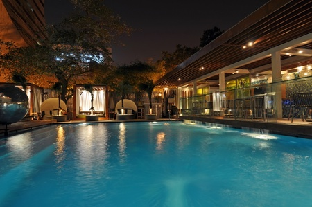 Hotel pool at night, picture taken in New Delhi, India.