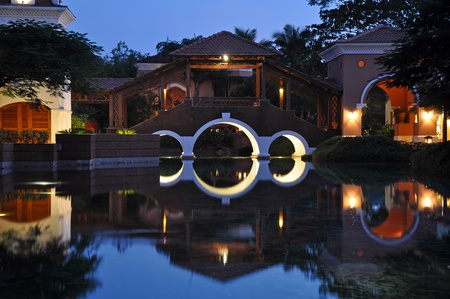 Goa: Exterior of luxury hotel, picture taken after the sunset.