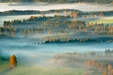 bohemian: Sunrise in a beautiful mountain of Czech-Saxony Switzerland. Stock Photo