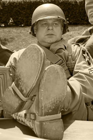 American veteran in helmet, vintage style (sephia color). Stock Photo - 12065278