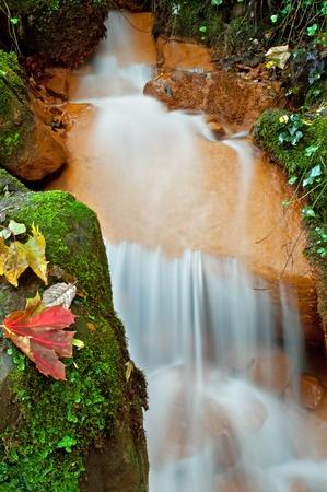 View of beautiful waterfall in the Czech-Saxony Switzerland. photo