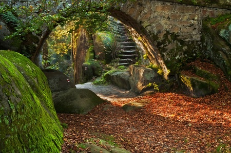 View of a beautiful autumn scene with an old bridge. photo