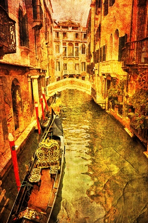 View of Venetian water channel, retro style photo. photo