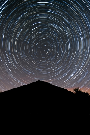 View of a stratrails on the night sky  Stock Photo - 13663282