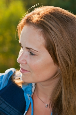 Detail of cute Caucasian model during the sunset time. Stock Photo - 13827068