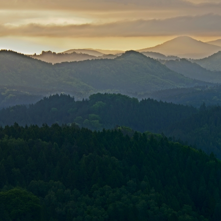 bohemia: Sunrise in a beautiful mountain of Czech-Saxony Switzerland, panoramic photo.