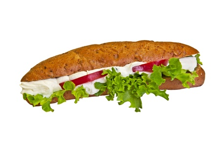 Sandwich - a bread roll with cheese spread and lettuce fillings. photo
