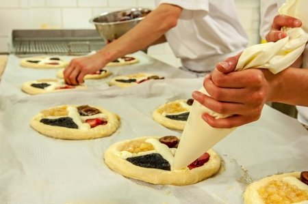 czech women: Picture of a production process of Czech traditional pies.