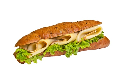 Sandwich - a bread roll with cheese cheese and lettuce fillings. photo