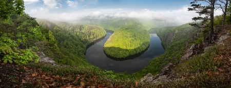 Panoramic view of a beautiful river meander. photo