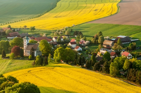 View of traditional Saxon village, picture taken in Germany.