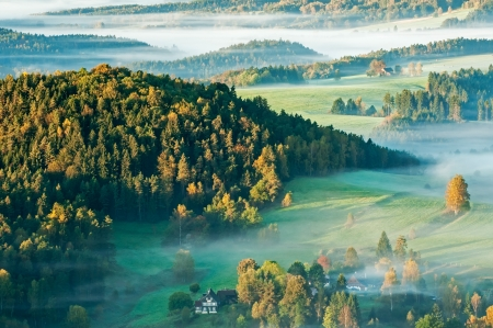 bohemia: Sunrise in a beautiful mountain of Czech-Saxony Switzerland. Stock Photo