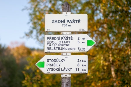 View of a typical sign on trail, picture taken in the Czech Republic. photo