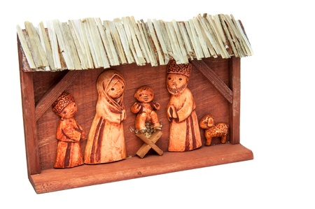 Picture of wooden Nativity Scene, handcarved, horizontal shot. photo