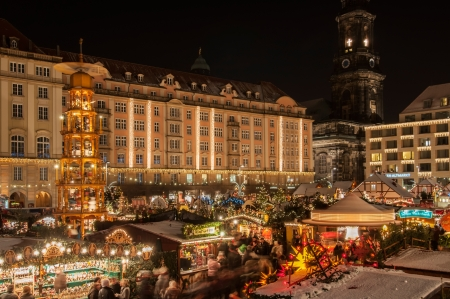 DRESDEN, GERMANY - DECEMBER 7, 2012: An unidentified group of people enjoy Christmas market in Dresden on December 7, 2012. It is Germany