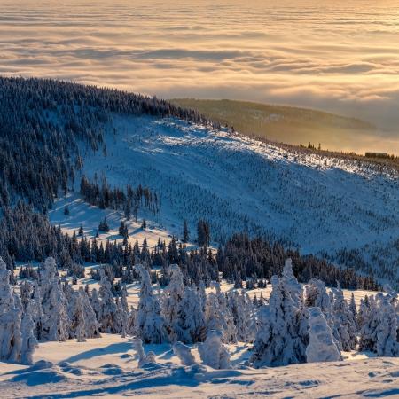 일몰 시간, 파노라마 사진 동안 겨울 원더 랜드의 전망. 스톡 콘텐츠 - 17922250