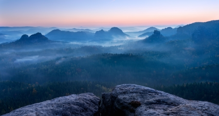 bohemia: Beautiful autumn scenery before the sunrise time. Panoramic picture.