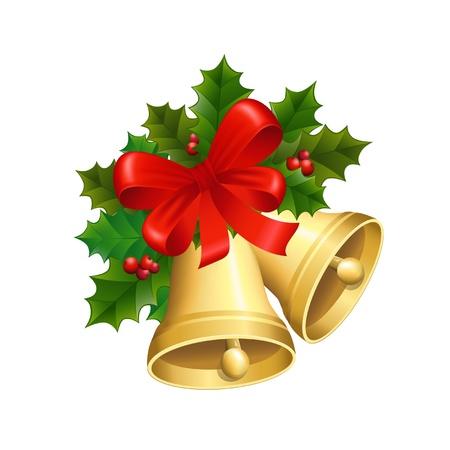 hulst: illustratie van de kerst klokken met een rood lint en hulst bladeren