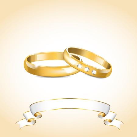 bague de fiancaille: illustration avec des anneaux de mariage en or et le ruban blanc Illustration