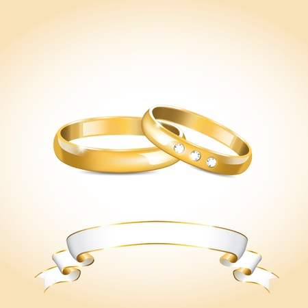 illustration with gold wedding rings and white ribbon Vector
