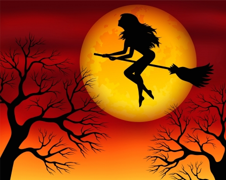 harmonous: illustration for Halloween with a witch flying on a broomstick