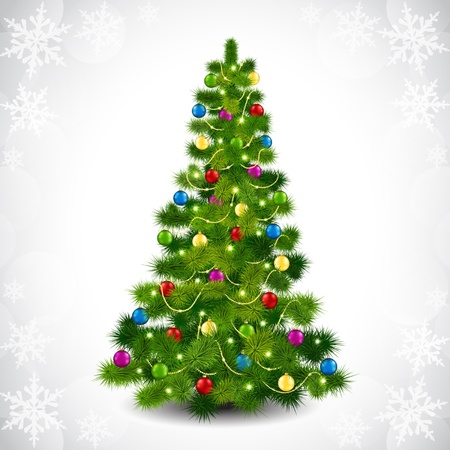 fir tree balls: illustration to the Christmas tree and colored balls