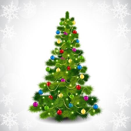 spruce: ilustraci�n para el �rbol de navidad y bolas de colores Vectores