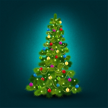 Vector illustration with a beautiful Christmas tree Stock Vector - 16836049