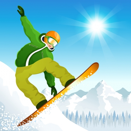 illustration with the young snowboarder Stock Vector - 17434395