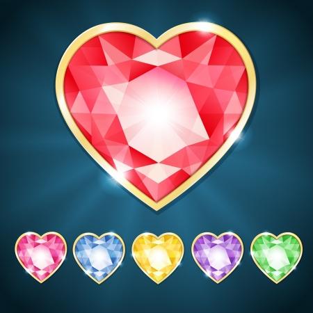 illustration with beautiful diamond heart Vector
