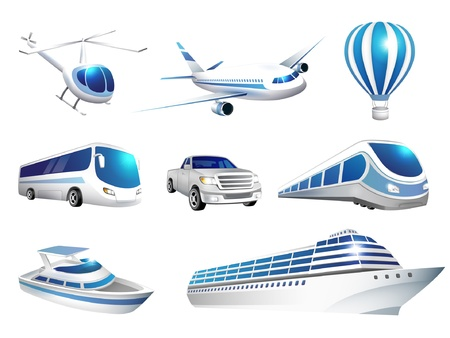 illustration collection of icons transport Vector