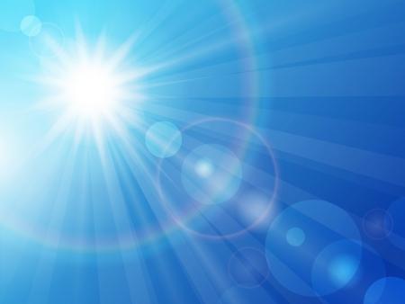 himmel hintergrund: Illustration Sonne in den blauen Himmel