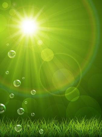 springtime background:  illustration of a beautiful summer background with green grass Illustration