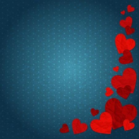 siluetas de enamorados: ilustración con corazones rojos del vintage en un fondo azul Vectores