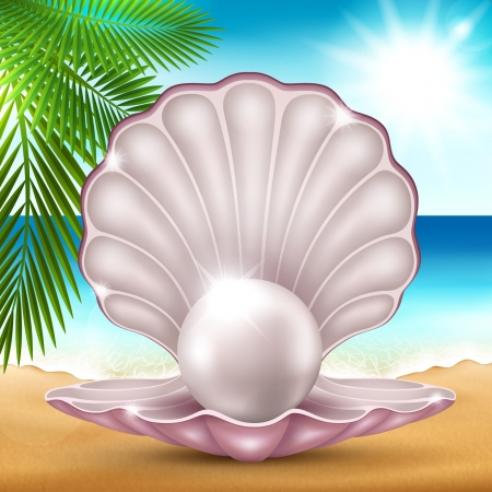 tropical beach panoramic: Vector illustration of a pearl on the beautiful sea coast Illustration