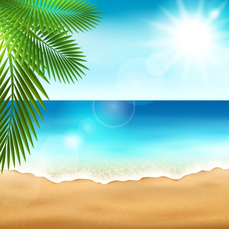 tropical beach panoramic: Vector illustration of the beautiful sea beach