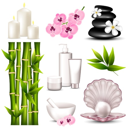 Vector illustration of a set of icons spa Vector