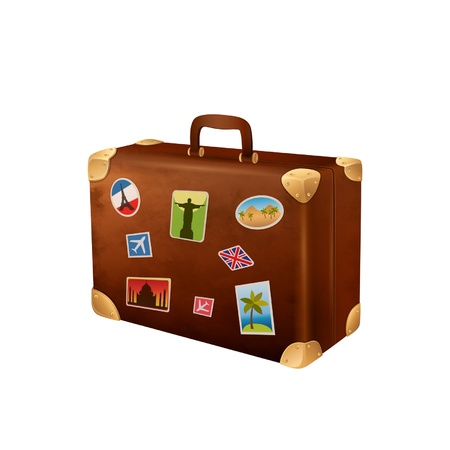 valise: Vector illustration suitcases traveler with stickers Illustration